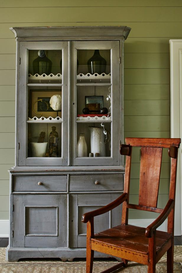 Gray Cabinet and Chair