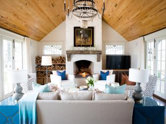 Cozy, Country-Style Den With Stone Fireplace
