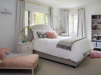 Gray Transitional Bedroom With Pink Chaise