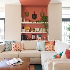 Coral Accent Wall Enlivens Contemporary Living Room