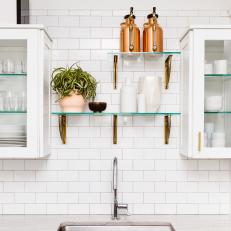Glass Kitchen Shelves and Houseplant