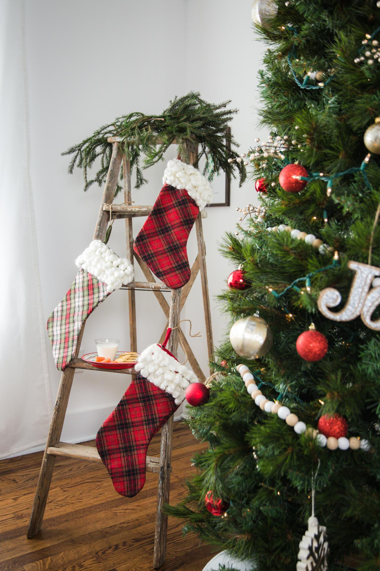 5 Stocking Display Ideas When You Don T Have A Mantel Hgtv