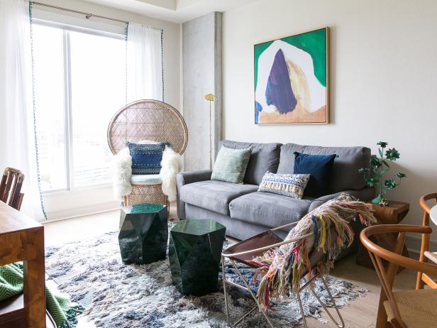 Bohemian Eclectic Living Room With Green Tables