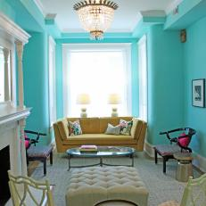 Blue Eclectic Living Room With Yellow Sofa