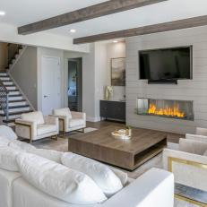 Neutral Modern Living Room With Exposed Beams