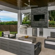 modern outdoor kitchen industrial modern outdoor kitchen and lounge photos hgtv