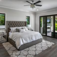 Gray Art Deco Master Bedroom and Patio