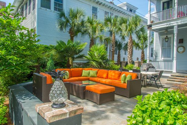 Patio With Orange Sectional