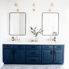 Double Vanity Bathroom With Striped Rug