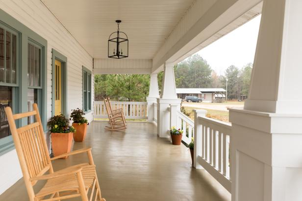 White Porch with White Tapered Columns and Neutral Rockers