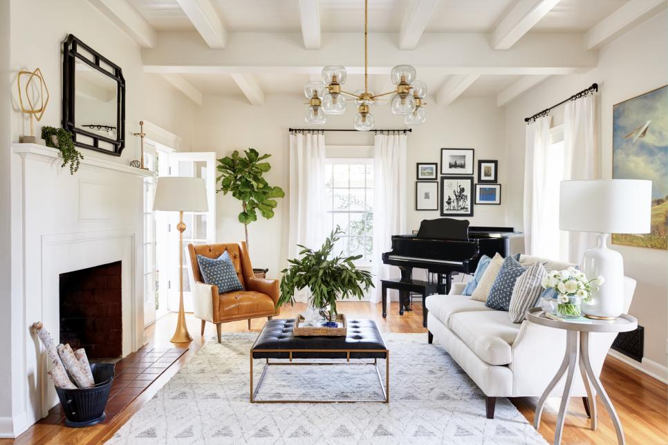 Transitional Off-White Living Room With White Sofa