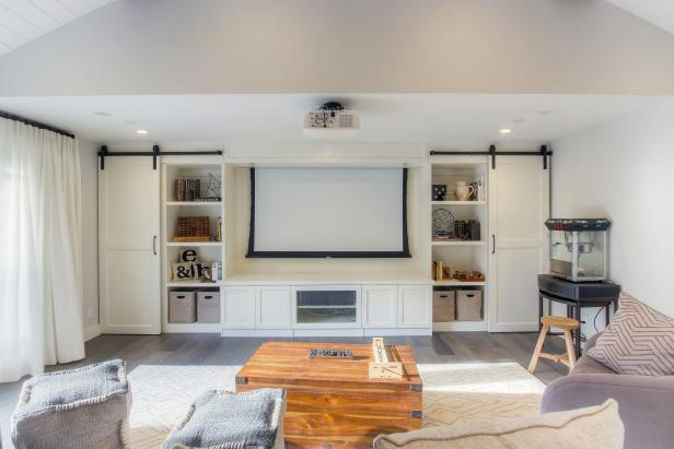 Multifunctional Garage Living Space With Movie Screen