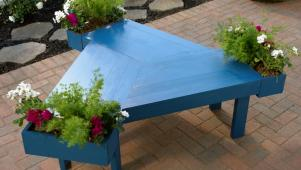 Blue Table with Planter