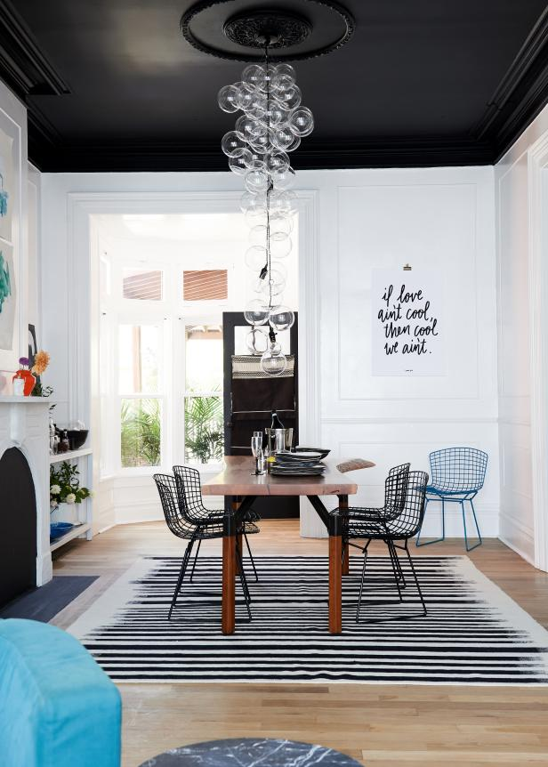 Black and White Contemporary Dining Room