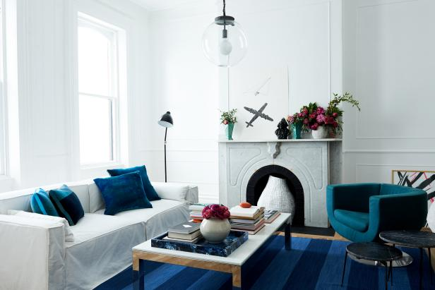 White Living Room With Blue Chair