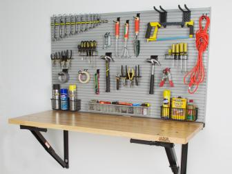Folding Worktable in a Garage