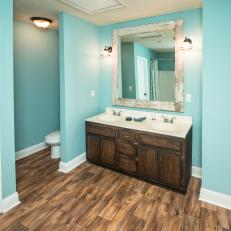 Contemporary Blue Bathroom with Brown Wood Vanity