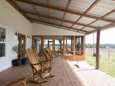 Country Neutral Porch with Brown Rocking Chairs