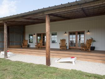 Neutral Country Deck with Twin Set of Brown French Doors