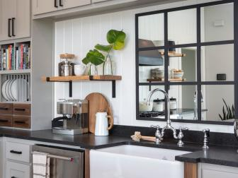 Contemporary Black and White Kitchen with Custom Black Mirror