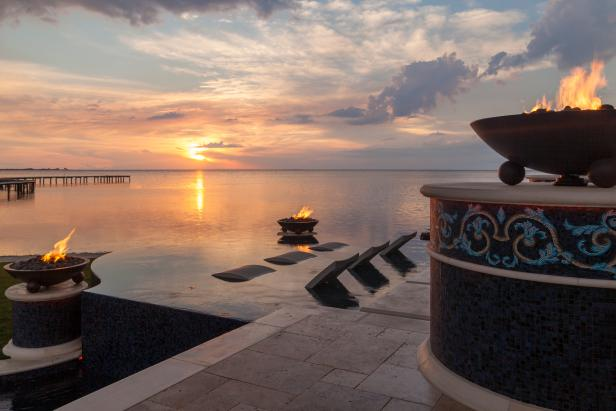 infinity-edge pool at sunset