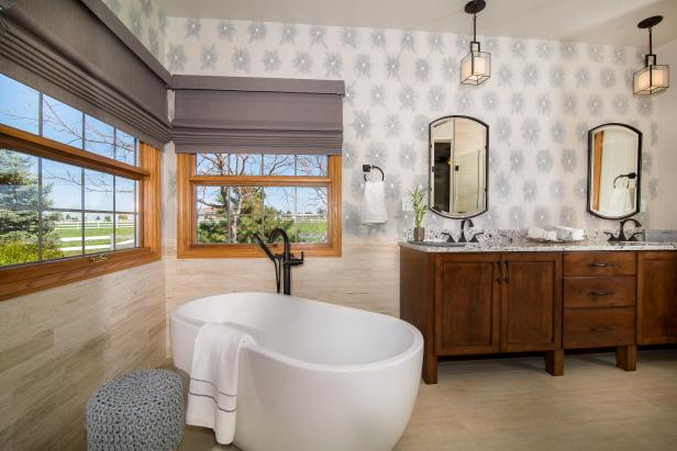 Master Bath With Graphic Wallcovering