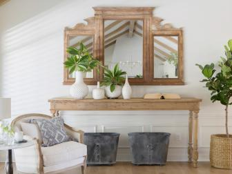 Rustic White Den with Neutral Wood Console