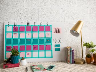 Pink and Blue Sticky Note Calendar