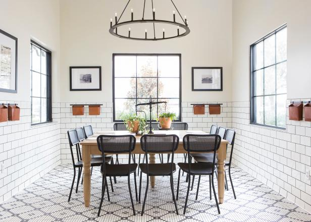 Black and White Dining Room with Black Chandelier, White Backsplash