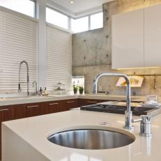 "Two Sinks and ""U"" Shaped Cabinets in Open Plan Kitchen"
