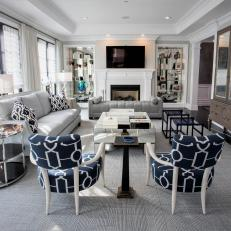 Gray Art Deco Living Room With Blue Chairs
