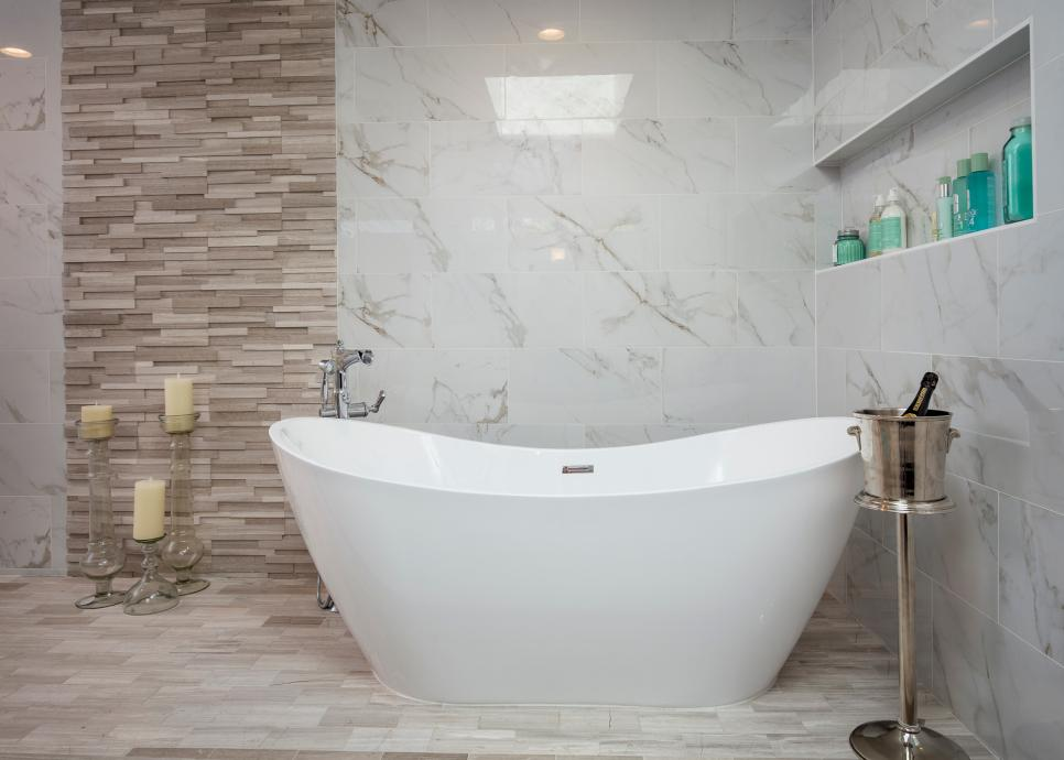 Master Bathroom Wet Room with Freestanding, Contemporary Tub