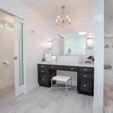 Elegant Makeup Vanity in Neutral Master Bathroom
