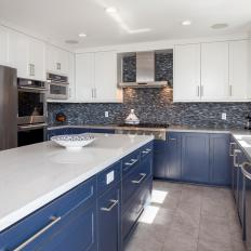 Elegant, Blue and White Transitional Kitchen