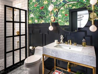 Eclectic Bathroom With Green Wallpaper