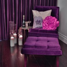 Purple Seating Area With Candles