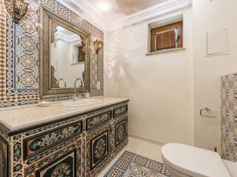 Powder Room Features Painted Tile