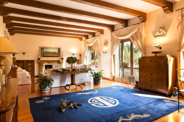 Mediterranean living room with blue rug
