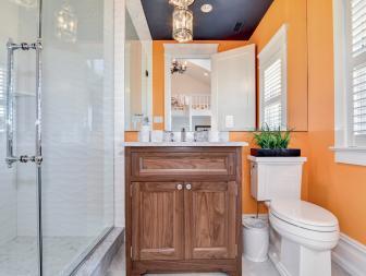Orange Bathroom With Blue Ceiling