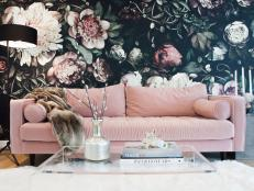 Floral Living Space with Pink Couch