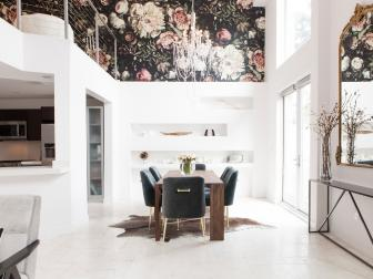 Modern White Living Space with Floral Wallpaper and Dining Table