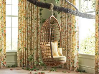 Whimsical Room with Swing Chair and Botanical Floral Draperies