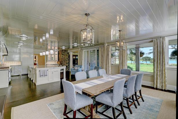 White Open Plan Kitchen And Dining Area With Water View Hgtv