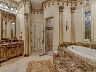 Traditional Master Bath with Ornate Architectural Details