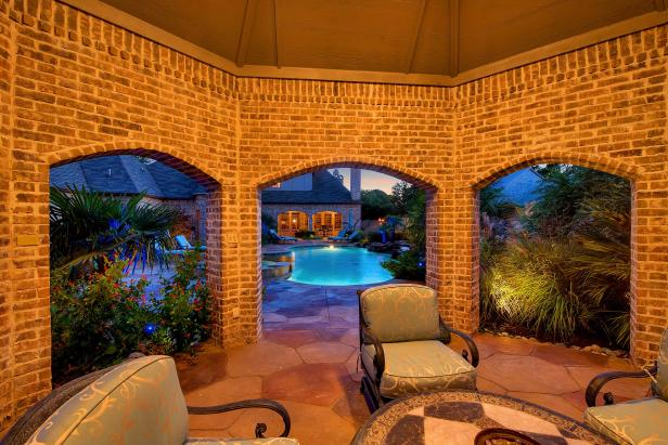 Traditional Brick Poolhouse
