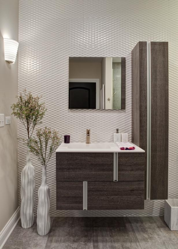 Create a beautiful bathroom in your basement with a floating vanity.