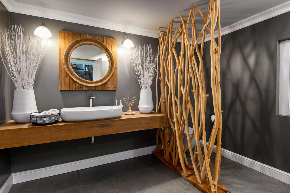 Gray Bathroom With Branches