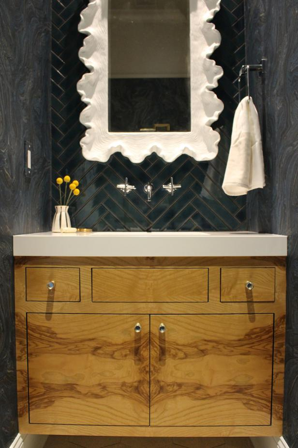 Open up floor space in your powder room with a floating vanity.
