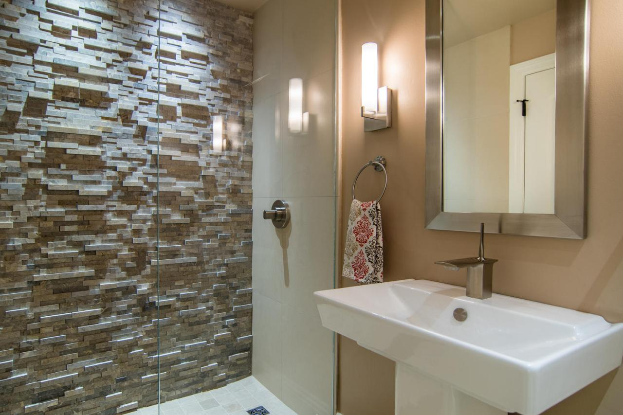 Small Modern Bathroom With Stone Tile Shower Hgtv