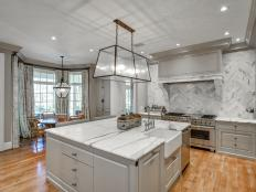 Gray Transitional Eat-In Kitchen With Bay Window